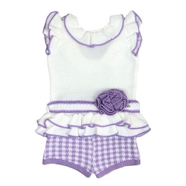 Rahigo Check Short Set, Lilac