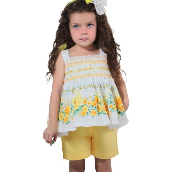 Pretty Originals Yellow Floral Short Set