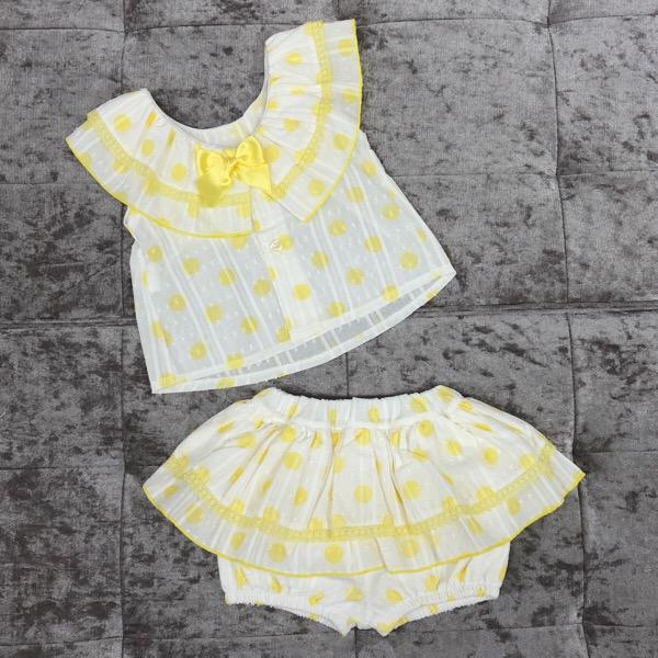 Babylis Polka Dot Skirt Set, Lemon