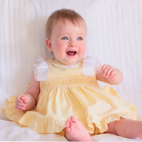 Pretty Originals Ribbon Smocked Dress, Lemon