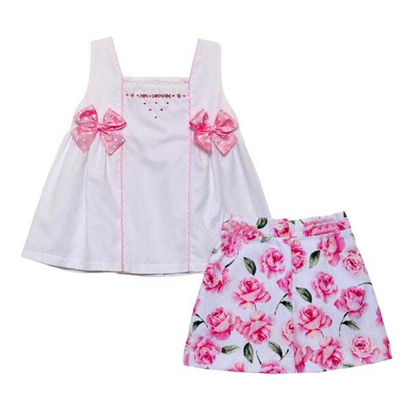 Pretty Originals Pink Floral Short Set