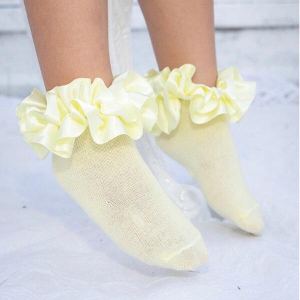 Caramelo Ankle Ruffle Socks, Lemon