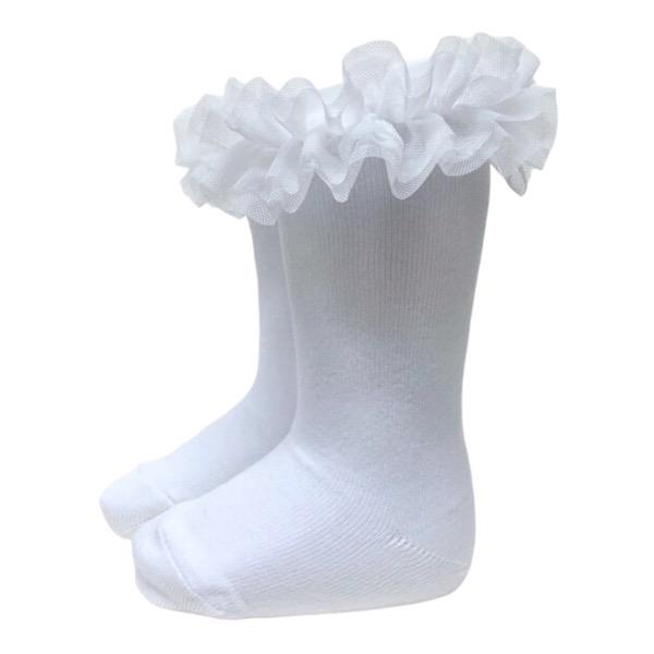 Meia Pata Tulle Tutu Socks, White