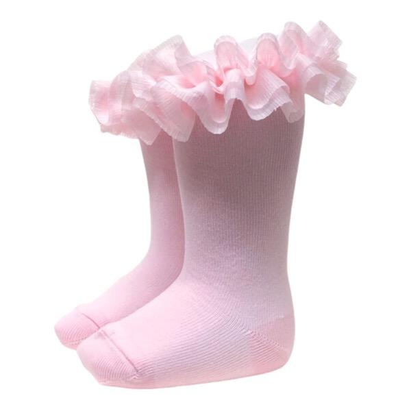 Meia Pata Tulle Tutu Socks, Pink