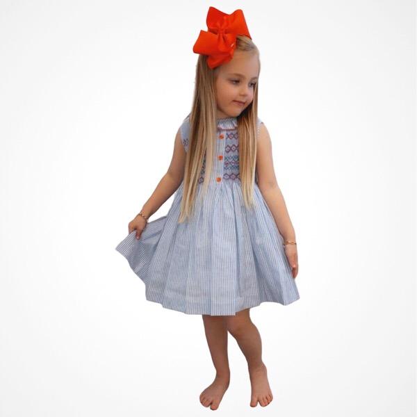 Dulce Dudu Blue & Red Smocked Dress