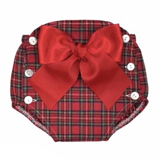 Tartan Bow Jam Pants, Red