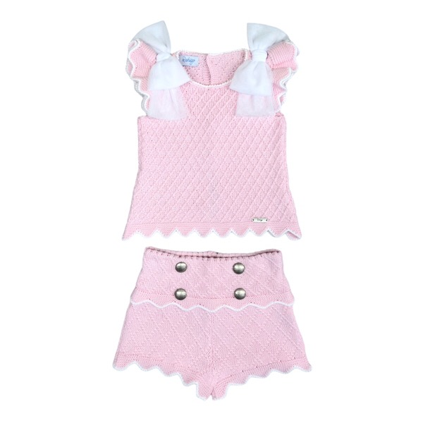 Rahigo Pink & White Tulle Short Set