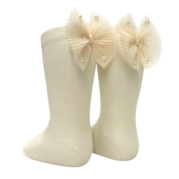 Meia Pata Pearl Bow Knee Socks, Cream