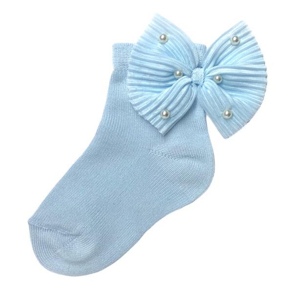 Meia Pata Pearl Bow Ankle Socks, Blue