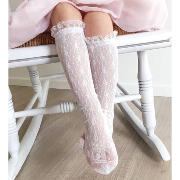 Condor White Lace Knee High Socks