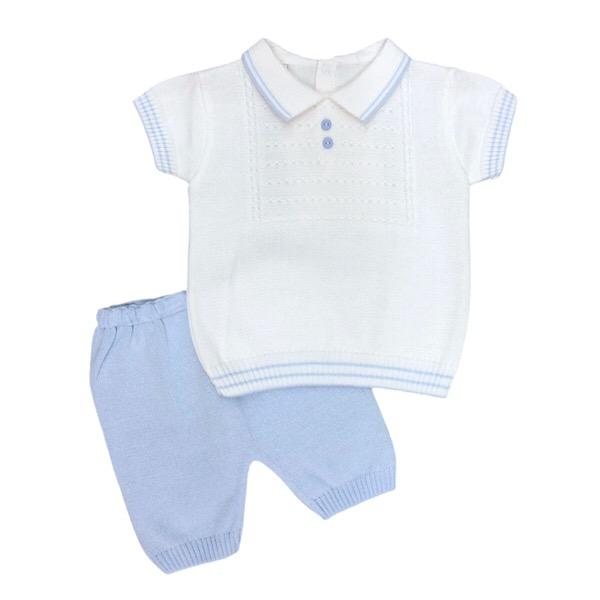 Pretty Originals White & Blue Knit Set