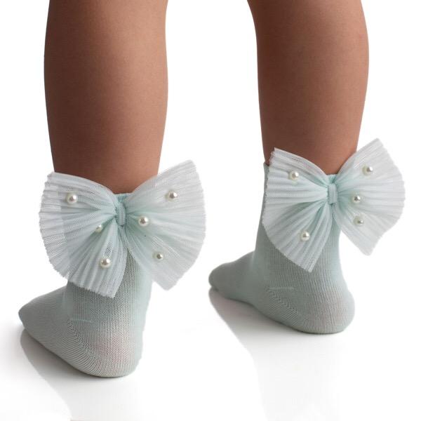 Meia Pata Pearl Bow Ankle Socks, Lemon