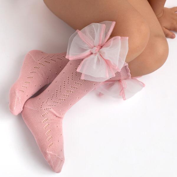 Meia Pata Organza Bow Socks, White