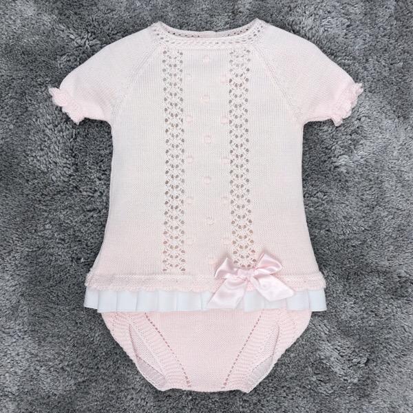 Juliana Pleated Frill Knit Jam Set, Pink