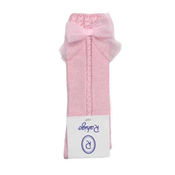 Rahigo Pink Tulle Bow Knee Socks