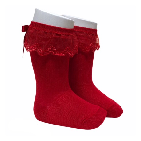 Meia Pata Tulle Frill Socks, Red