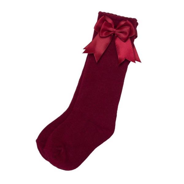 Tambino Double Satin Bow Socks, Wine