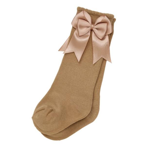 Guijarros Satin Bow Socks, Camel