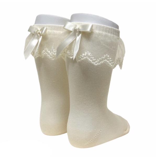 Meia Pata Tulle Frill Socks, Cream
