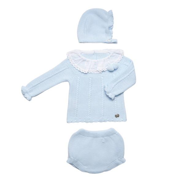 Juliana 3 Piece Knit Pom Pom Set, Blue