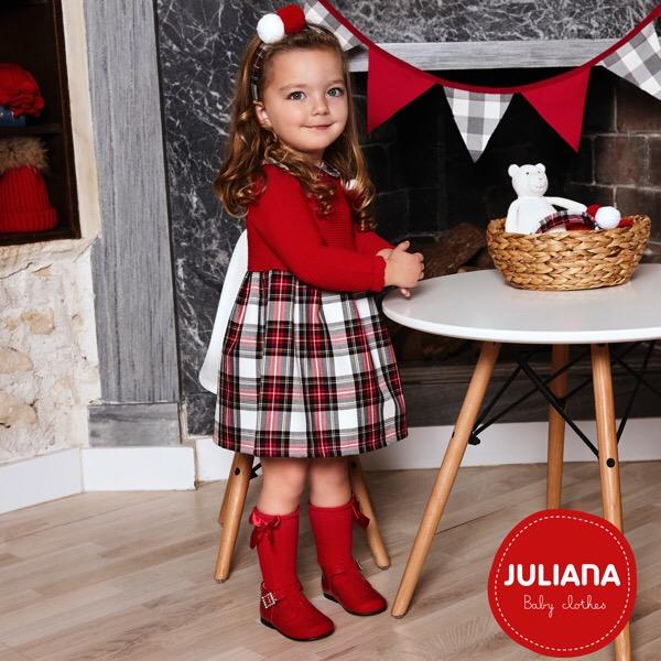 Juliana Red Tartan Knit Dress