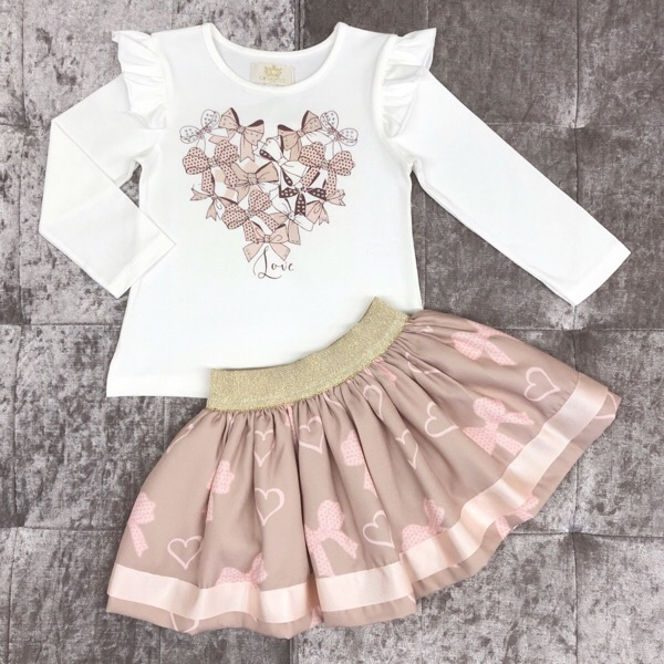 Caramelo Bow Skirt Set, Mink