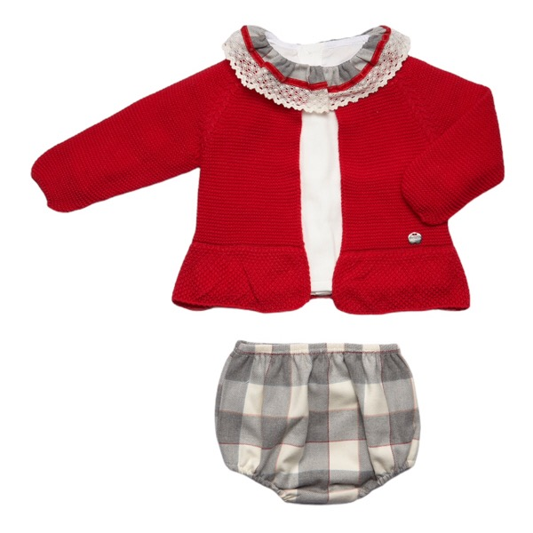 Juliana Red & Grey Check Cardigan Set