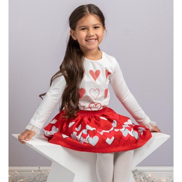 Caramelo Red Heart Skirt Set