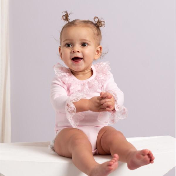 Caramelo Long Sleeve Frilly Vest, Pink