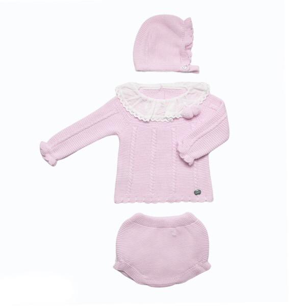 Juliana 3 Piece Knit Pom Pom Set, Pink