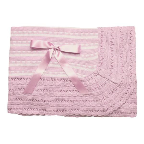 Juliana Stripe Shawl, Pink & Cream