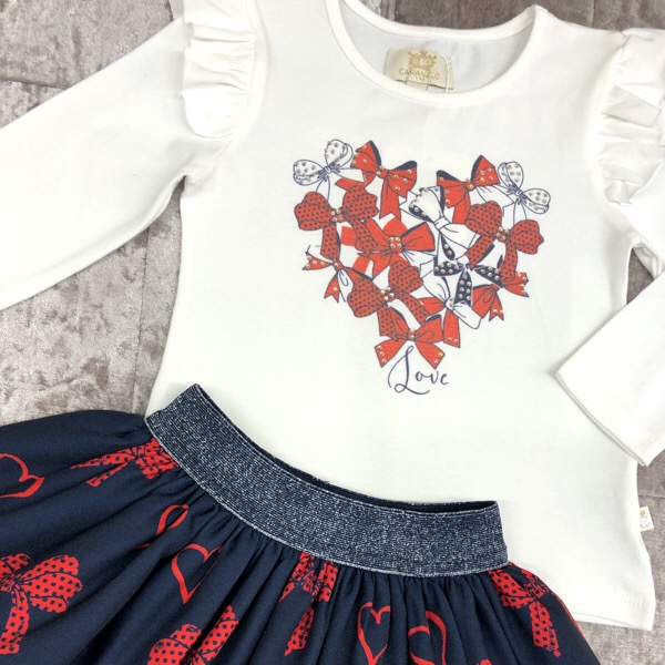 Caramelo Bow Skirt Set, Navy