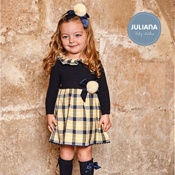 Juliana Navy & Lemon Check Knit Dress