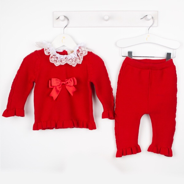 Caramelo Red Lace Lounge Set