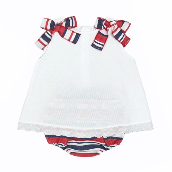Juliana Red & Navy Stripe Dress Set
