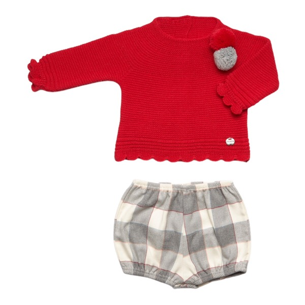 Juliana Red & Grey Check Shorts Set
