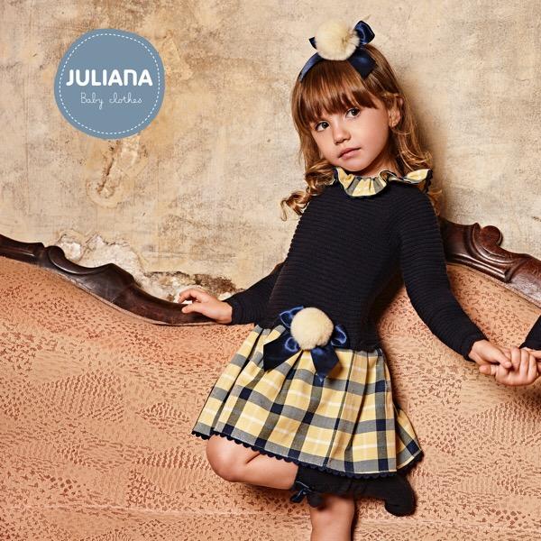 Juliana Navy & Lemon Check Dropwaist Dress