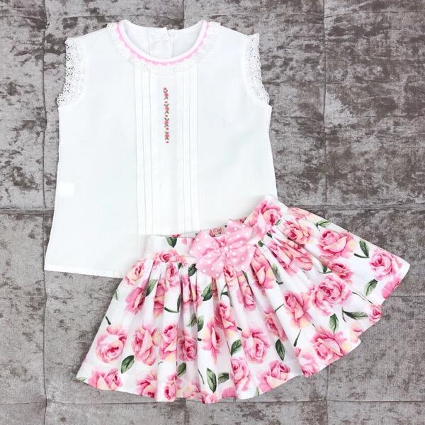 Pretty Originals Pink Floral Skirt Set