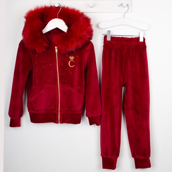 Caramelo Red Velour Lounge Set