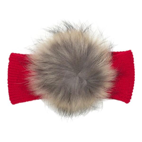 Juliana Red Fur Headband