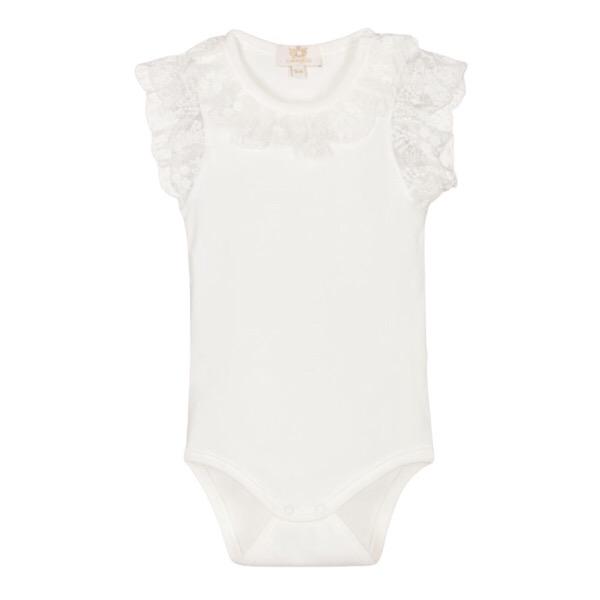 Caramelo Short Sleeve Frilly Vest, Ivory