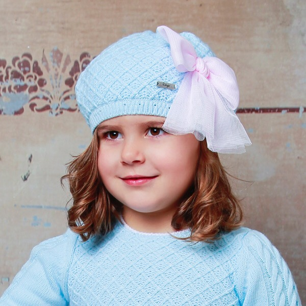 Rahigo Blue & Pink Tulle Beret Hat