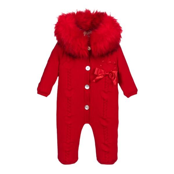 Caramelo Red Fur Pram Suit