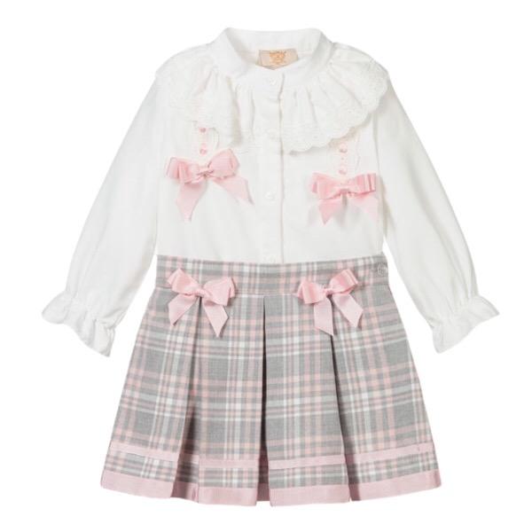 Caramelo Pink Check Skirt Set