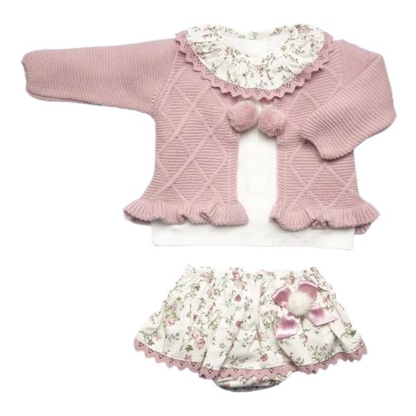 Juliana Dusky Pink Floral Skirt Set
