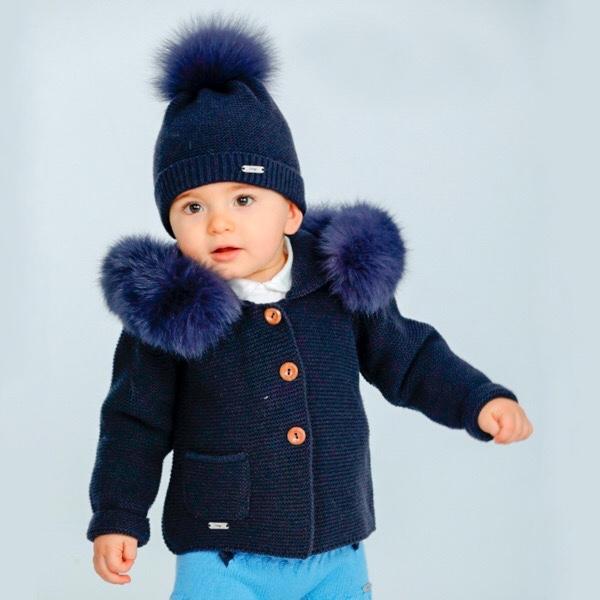Rahigo Navy Fur Coat & Hat Set