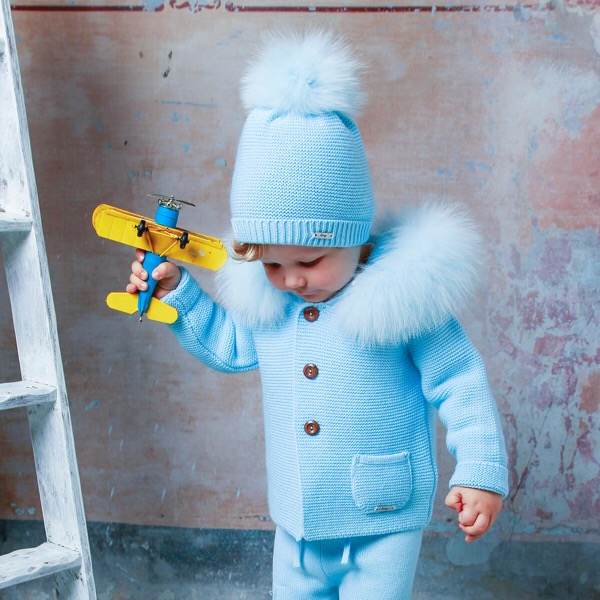 Rahigo Blue Fur Coat & Hat Set