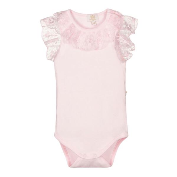 Caramelo Short Sleeve Frilly Vest, Pink