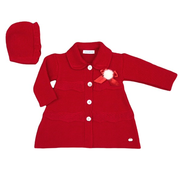Juliana Red Knitted Coat & Hat Set