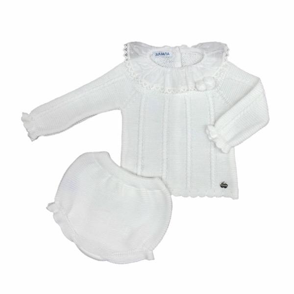 Juliana 3 Piece Knit Pom Pom Set, White